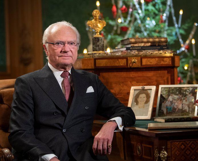 Zweedse koning Carl Gustaf tijdens de  jaarlijkse kerstboodschap in 2019
