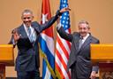 Historische ontmoeting tussen de toenmalige Amerikaanse president Barack Obama en Raúl Castro, in 2016.