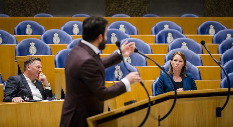 Denk-Kamerli Öztürk in debat in de Tweede Kamer.  Beeld ANP - Bart Maat