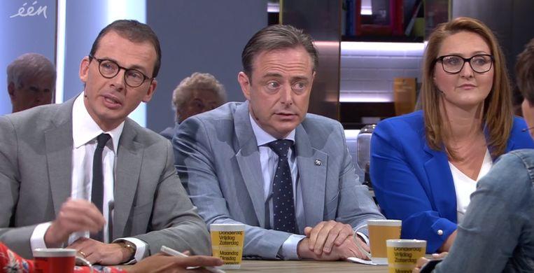 De drie partijvoorzitters van de Zweedse ploeg in Vlaanderen. V.l.n.r: Wouter Beke (CD&V), Bart De Wever (N-VA) en Gwendolyn Rutten (Open Vld). Beeld VRT