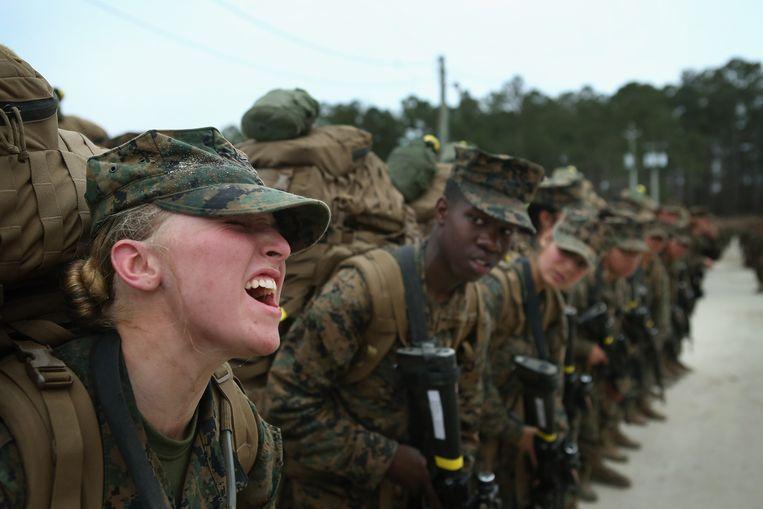 Militairen op Camp Lejeune in North Carolina, waar Mark Brouwer twee jaar gelegerd is geweest. 'Wat ik hier heb gezien, is die enorme gevechtsbereidheid.'  Beeld Getty Images