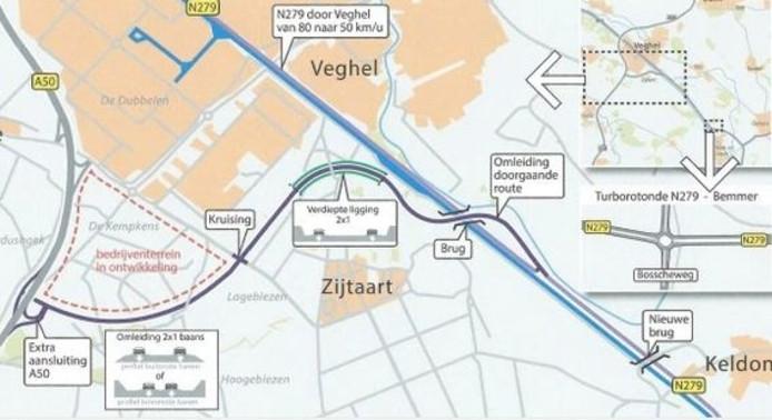 De omleiding die de gemeente Veghel in Zijtaart voor ogen heeft.