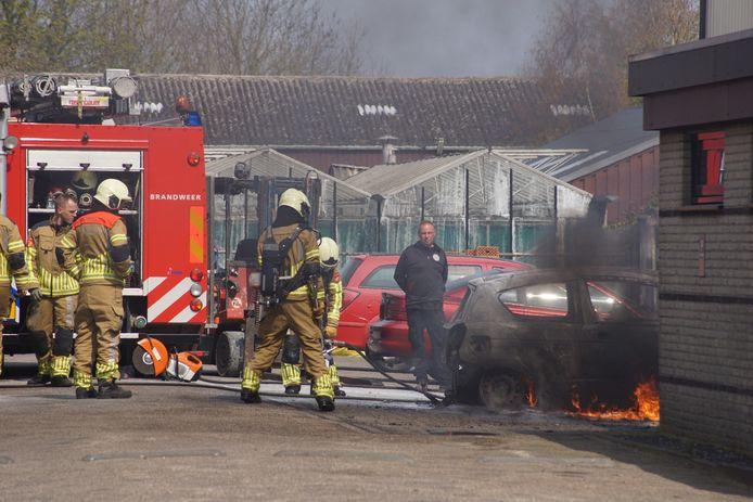 De auto vloog op het terrein van het autobedrijf aan de Lage Ham in Dongen in brand.
