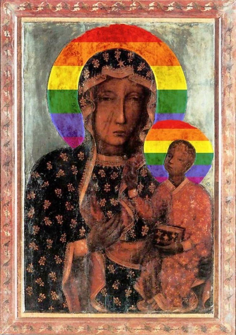 De poster die Elzbieta Podlesna verspreid zou hebben. Beeld
