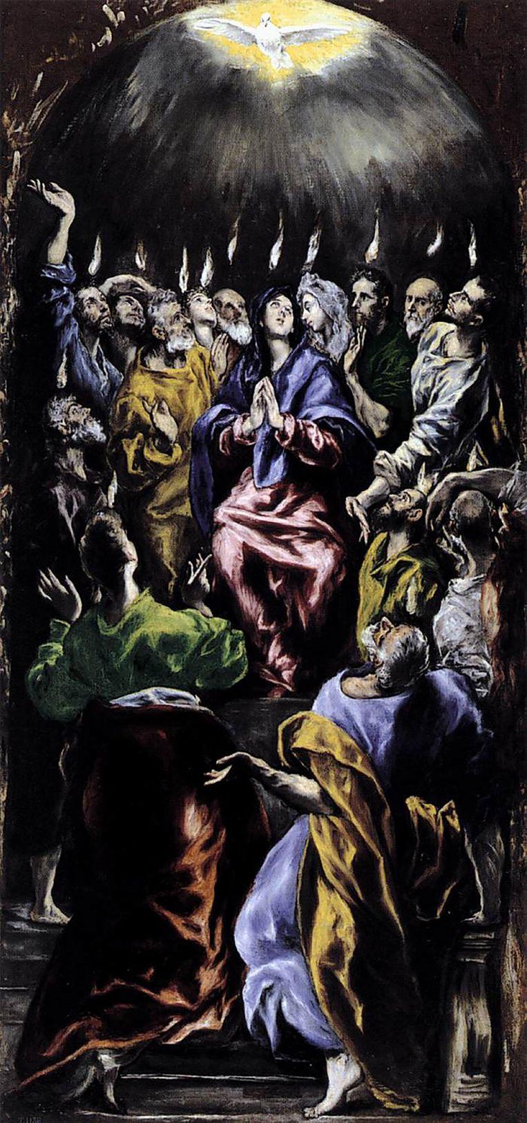 El Greco's Pinksteren (ca. 1600): de vlammen van de heilige geest dalen neer op Maria en de apostelen. Het werk is te zien in het Pradomuseum in Madrid. Beeld .