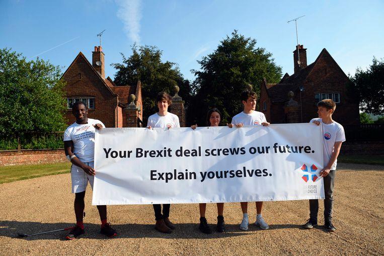 Anti-brexit-demonstranten protesteren buiten Chequers.  Beeld AP