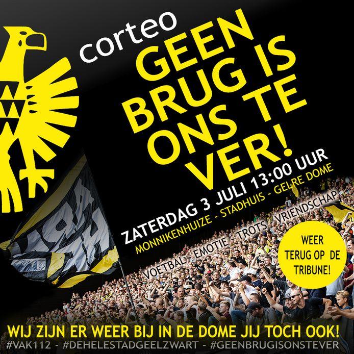 De poster voor de optocht die Vitesse-supportersgroep Vak 112 zaterdag 3 juli wil houden.