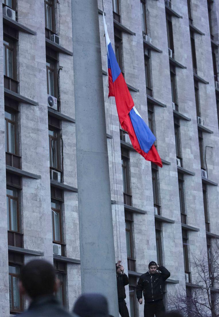Gisteren werd de Russische vlag gehezen. Beeld reuters