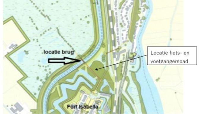 De locatie van de nieuwe brug.