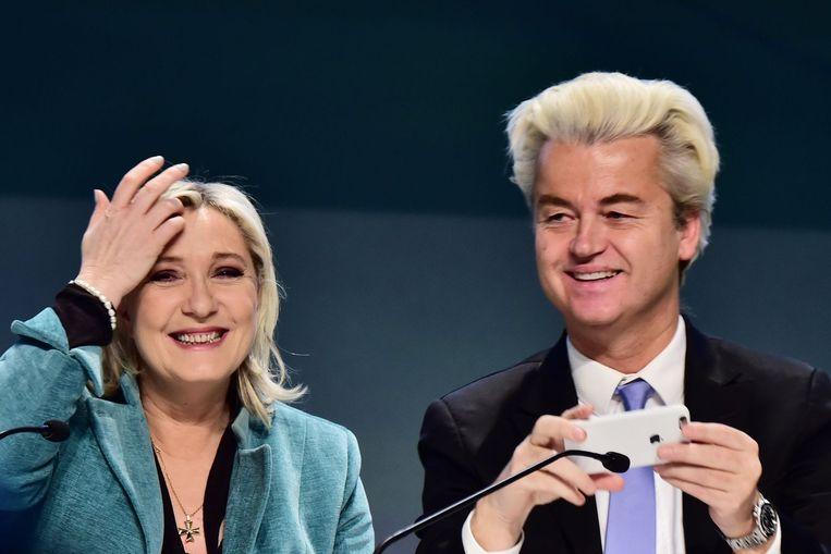 Wilders wil een referendum over een Nexit, Marine le Pen over een Frexit. Beeld afp
