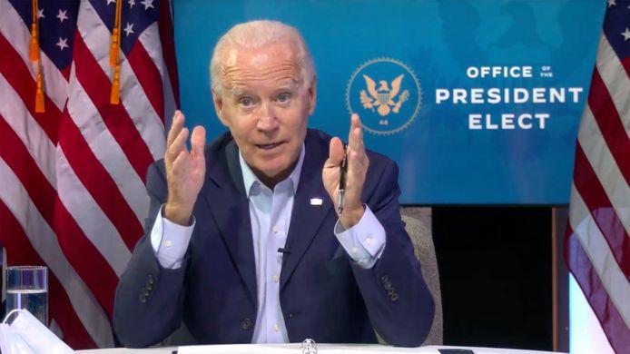 Aankomend president Joe Biden op een online bijeenkomst voor mkb-ondernemers en -werknemers.