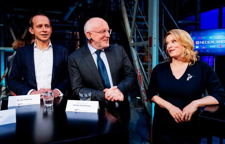 Arnout Hoekstra (SP), Frans Timmermans (PvdA) en Esther de Lange (CDA) in 2019 voorafgaand aan een lijsttrekkersdebat bij de NOS aan de vooravond van de verkiezingen voor het Europees Parlement.  Beeld Hollandse Hoogte /  ANP