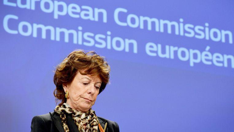 Neelie Kroes als Eurocommissaris in 2014. Beeld EPA