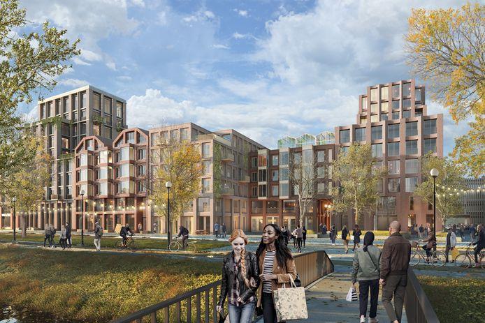 Na de sloop van kantoren en stadskantoor wordt langs de Spuiboulevard in Dordrecht een nieuwe wijk met veel hoogbouw gebouwd.