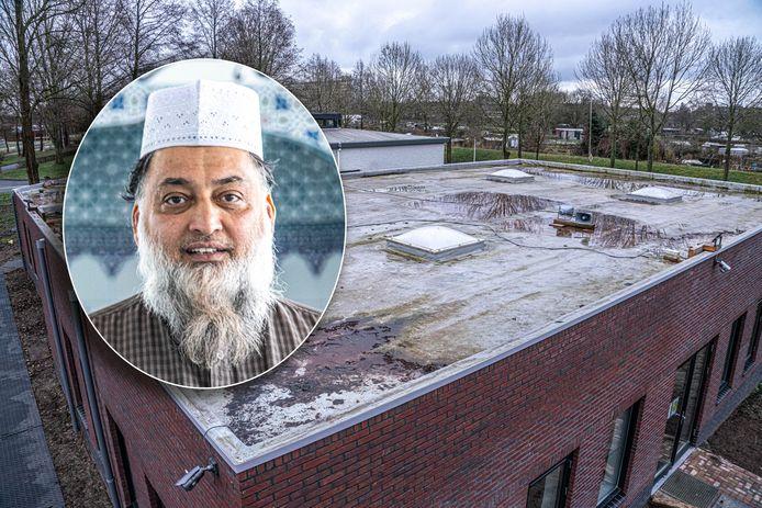 Rechts de luidsprekers op het dak van de moskee. Inzet: imam Goelab.