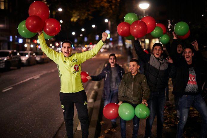 Marokkaanse voetbalfans in Rotterdam.