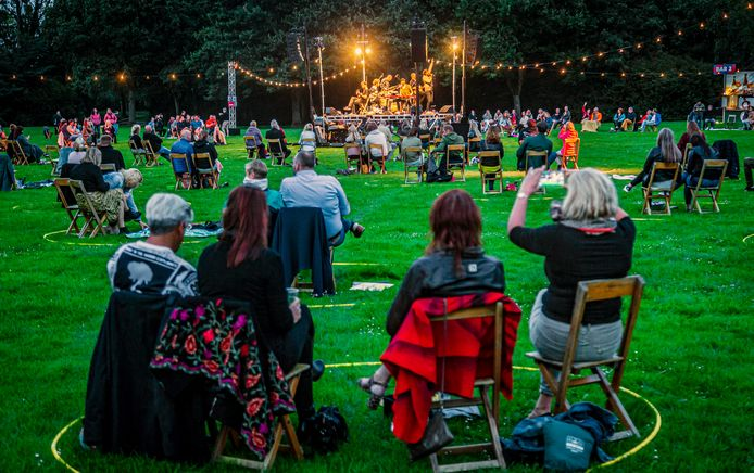 Palm Parkies in de Biesbosch. Let op de cirkels waarin het publiek plaats moet nemen.