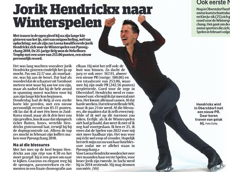 Het stuk over Jorik Hendrickx, zaterdag in uw krant.