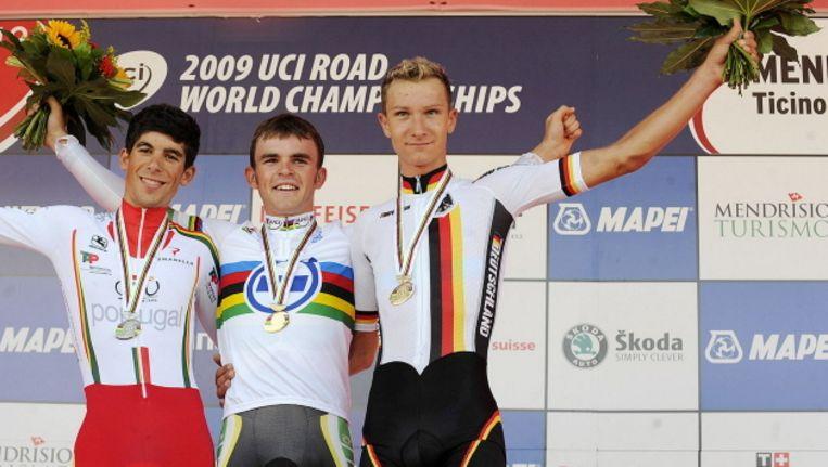 Patrcik Gretsch (rechts) won op het WK 2009 nog brons in de tijdrit bij de mannen onder 23. Beeld