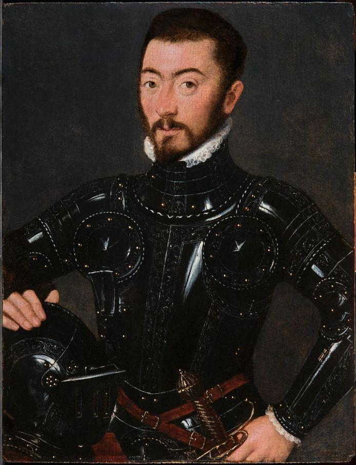 Op het kunstwerk van de hand van de Brugse portrettist Gillis Claeissens staat een man in wapenuitrusting.
