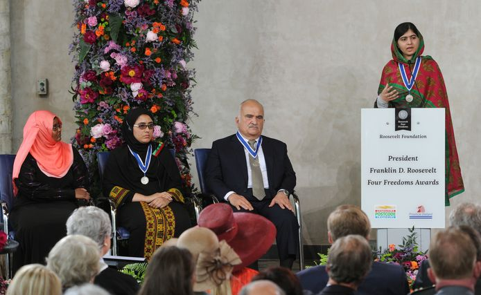 Kinderrechtenactiviste Malala Yousafzai ontving in 2014 een van de Four Freedoms Awards.