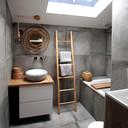 Natuurlijke materialen, daar houdt Melissa van. Het dakraam, dat is toegevoegd tijdens de verbouwing, zorgt voor fijn daglicht in de badkamer.