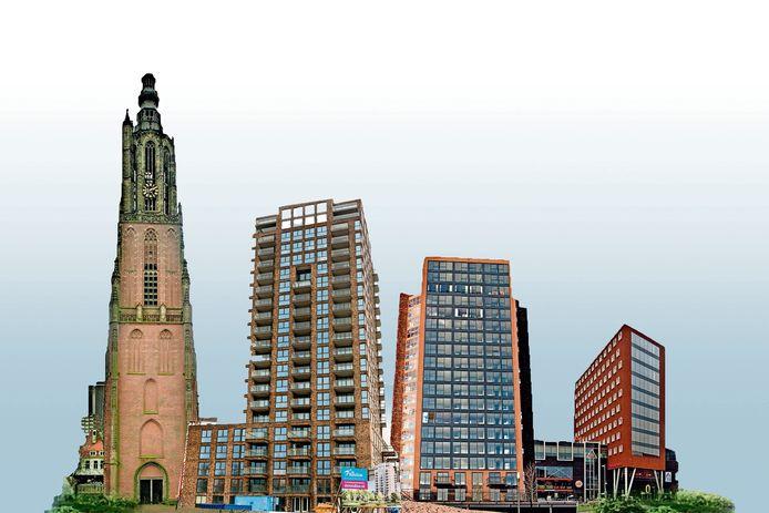 Van links naar rechts: de Onze Lieve Vrouwetoren (98,33 meter), Cadenza in het Hogekwartier (60 meter), La Balise in Nieuwland (60 meter) en Het Oppidium aan De Nieuwe Poort in Amersfoort (45 meter).