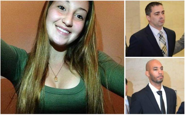 Anna Chambers met rechts de mannen die ze beschuldigt van aanranding en verkrachting: Eddie Martins (bovenaan) en Richard Hall.