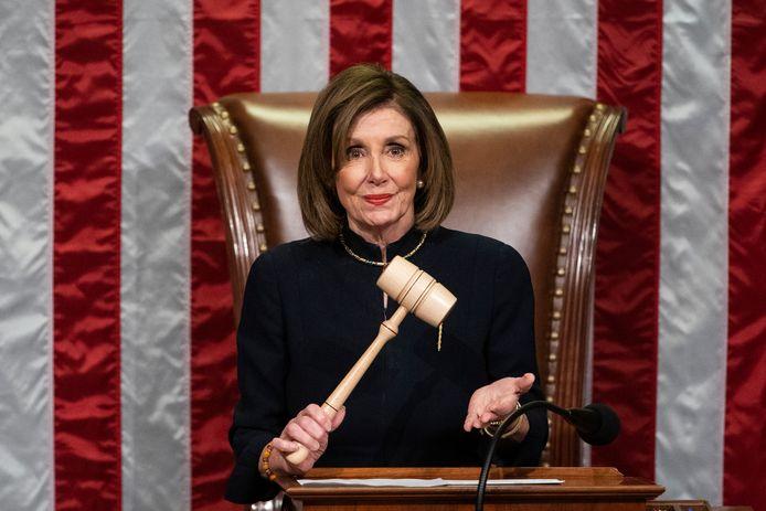 Speaker of the House Nancy Pelosi tijdens de stemming.