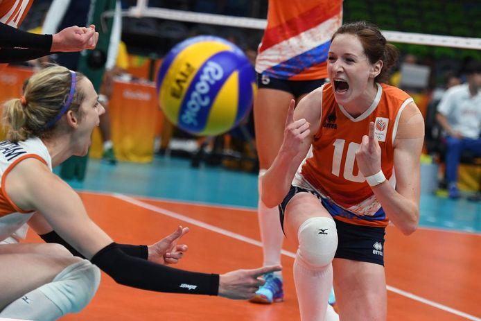 Lonneke Sloetjes viert de zege op Zuid-Korea in de kwartfinale van de Spelen van 2016.