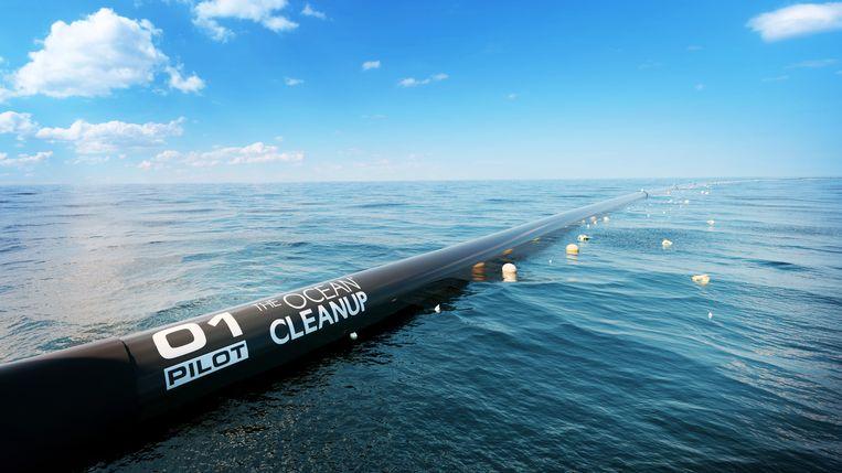 Een kleinere modulaire versie van de Ocean Cleanup gepresenteerd door CEO en oprichter van de Ocean Cleanup, Boyan Slat in 2017. Beeld Jiri Buller