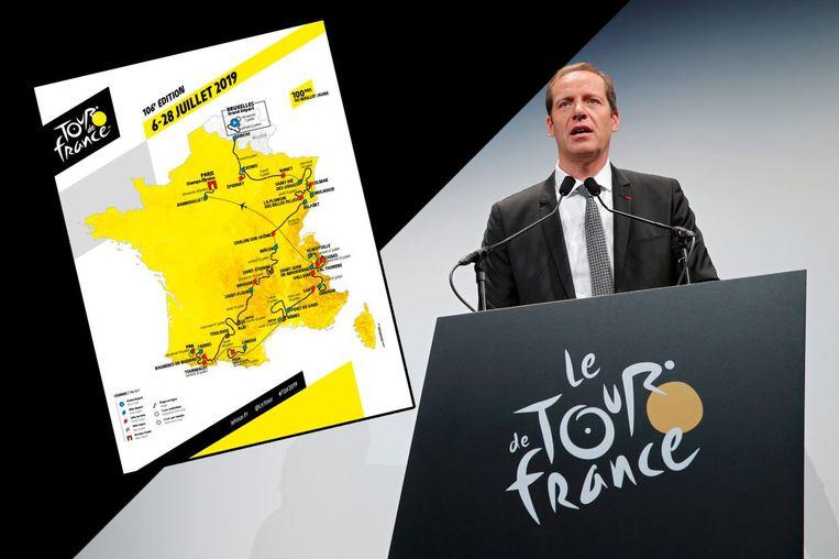 Christian Prudhomme stelde het parcours van de Tour 2019 voor. Beeld TDF/AFP