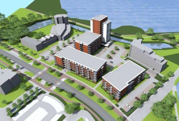 Het plan zoals Habion dat had ontwikkeld voor de nieuwbouw van Randmeer in Harderwijk. Het voldoet niet aan de uitgangspunten die de gemeente heeft opgesteld.