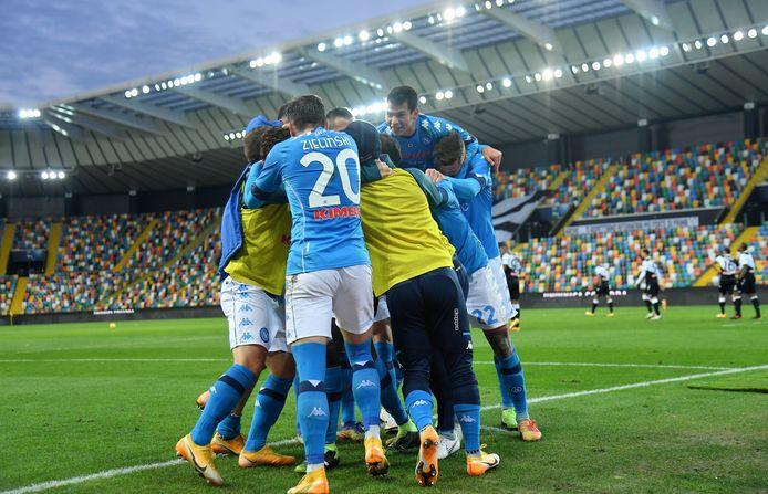 Vreugde bij de spelers van Napoli.