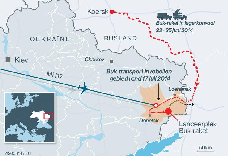 Het transport van de Buk-raket naar Oekraïne en weer terug naar Rusland, zoals is gereconstrueerd uit foto's, video's en getuigenverklaringen. Beeld