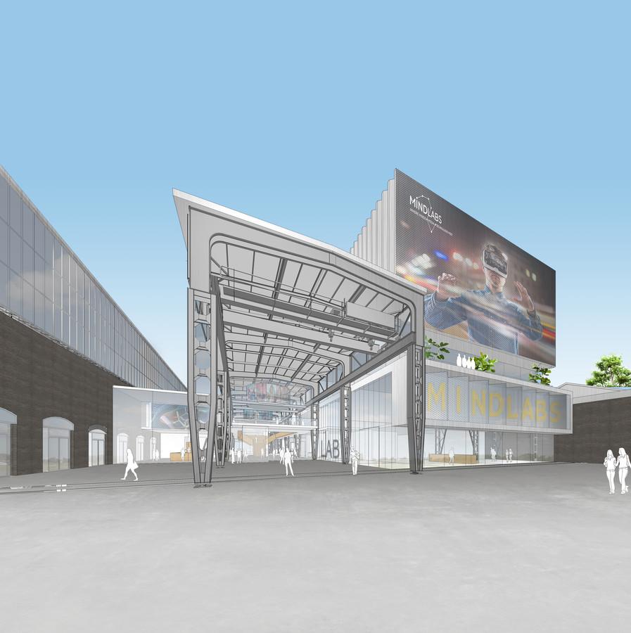 Impressie van de nieuwbouw voor Mindlabs, gezien vanaf het spoor, met links de LocHal. Rechts ligt de Smederijtuin. Ook in het aan te passen plan blijft dit beeld goeddeels in stand. De stalen spanten zijn van een bestaande van de voormalige werkplaats.