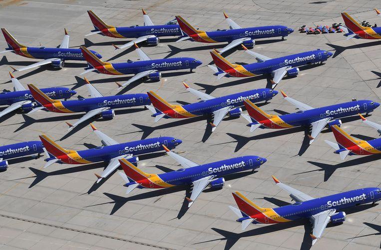 Een aantal Boeing 737 MAX-toestellen. Beeld AFP