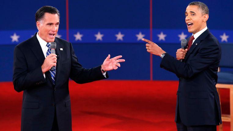 Romney en Obama tijdens een debat Beeld REUTERS