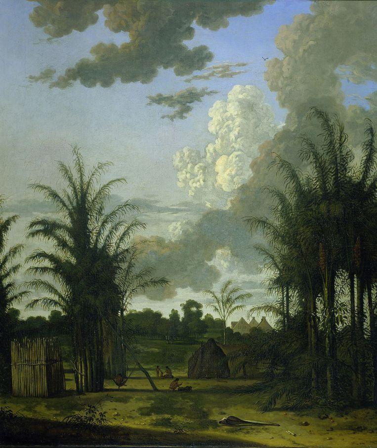 Plantage in Suriname, Dirk Valkenburg (1707). Nederlanders hebben van 1667 tot 1939 in Suriname misdaden tegen de menselijkheid gepleegd, stelt Armand Zunder. Beeld Sepia Times/Universal Images Gro
