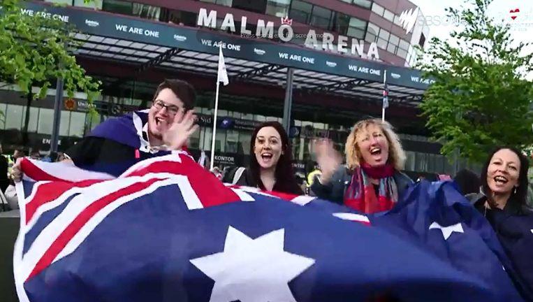 Australische fans tijdens het Songfestival in Zweden in 2013. Beeld SBS Australia / YouTube