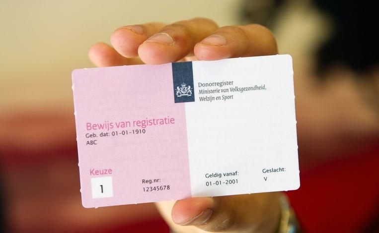 Registratieformulier voor donorregistratie van het Ministerie van Volksgezondheid, Welzijn en Sport (VWS).  Beeld anp