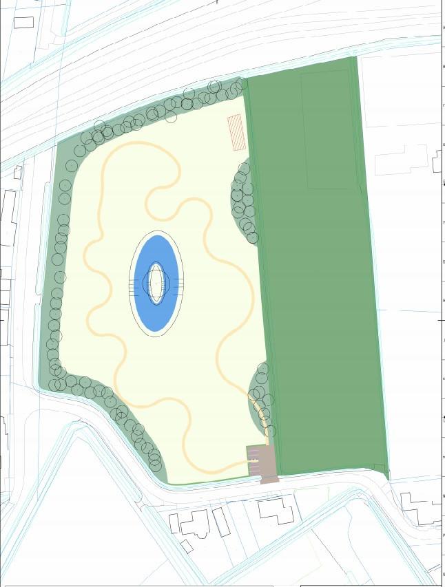 Schetsontwerp van het Levensbos dat de gemeente Steenbergen wil aanleggen naast het Petersbos (groene strook aan de rechterzijde).