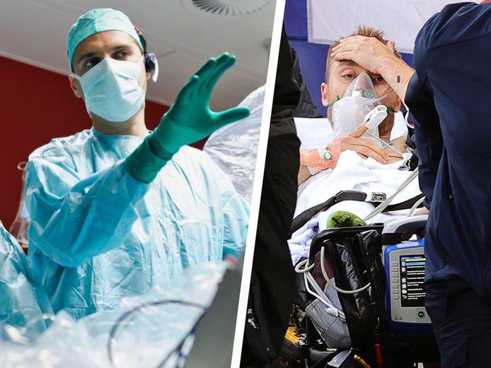 Cardioloog en elektrofysioloog Tom De Potter en Christian Eriksen op de brandcard.