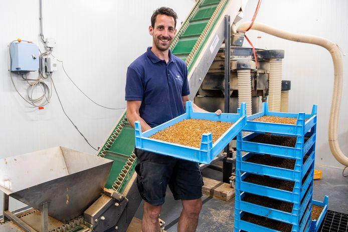 Boer Rowin Batterink uit Nijkerk kweekt meelwormen. De kweek van insecten als eiwitvervangers wordt sterk gestimuleerd in de Gelderse Vallei.