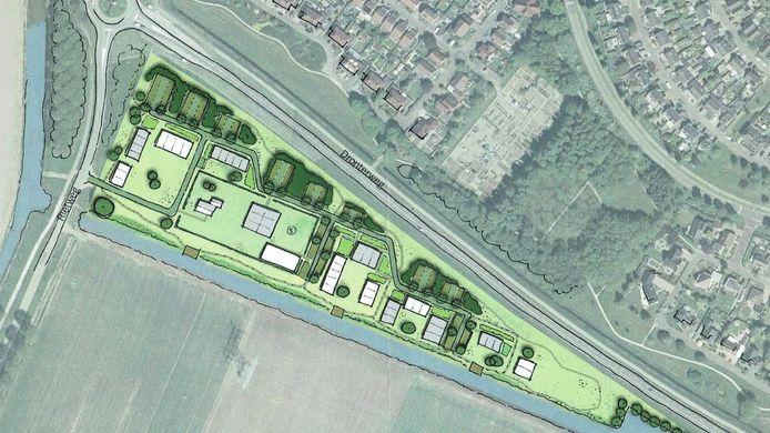 Een schets van het afgeschoten plan voor een migrantendorpje aan de Rietweg.