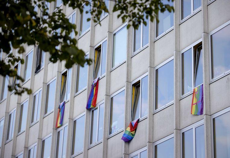 Regenboogvlaggen aan een studentenflat aan de Krelis Louwenstraat. Beeld ANP