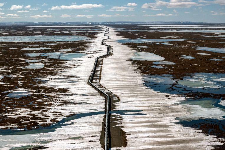 Een oliepijpleiding in Alaska. Beeld Getty