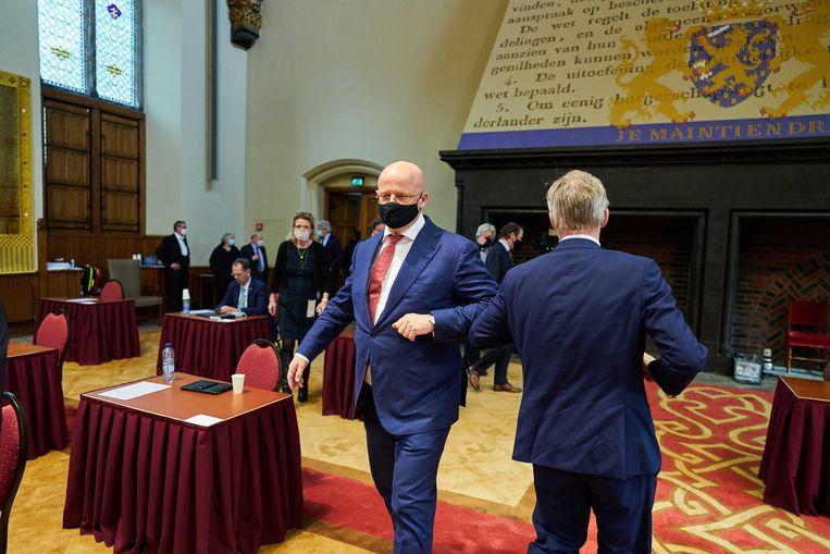 Demissionair minister Ferdinand Grapperhaus (Justitie en Veiligheid) tijdens de plenaire zitting in de Eerste Kamer. Beeld ANP