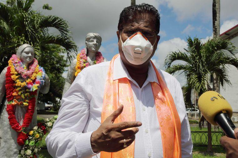 Chan Santokhi (VHP) tijdens een herdenking van 147 jaar Hindostaanse Immigratie. Beeld ANP
