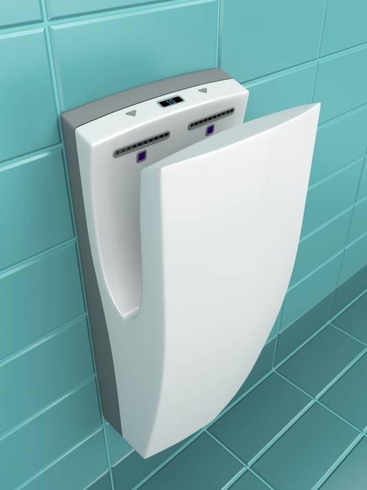 Un sèche-mains à air pulsé